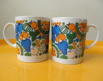 Retro Nevco Fruit Mugs - 1960s - Set of 2