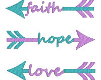"BUY2GET1FREE - 3"", 4"", 5"", 6"" Faith, Hope and Love Tribal Arrows Machine Embroidery Design"
