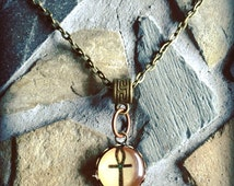 Antique Copper Ankh Glass Cabochon Lace Setting and Tribal Imprinted Bail Chain Necklace