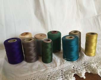 10 Spools of Vintage Thread, All Colors Spools