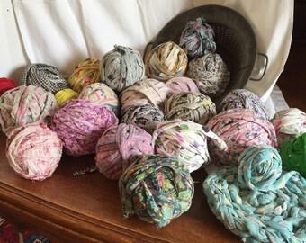 25 Vintage Feedsack Rag Balls Multiple Colors; Display or Rag Rug