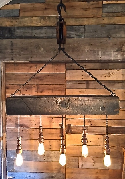 Reclaimed Wood Beam Amp Barn Pulley Light Fixture By