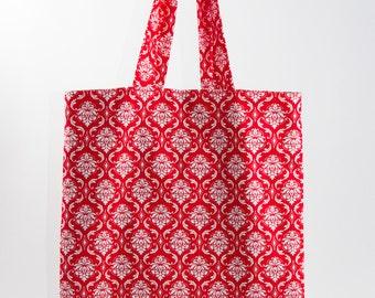 Reversible Red Damask Tote Bag, Market Bag, Tote with Pocket