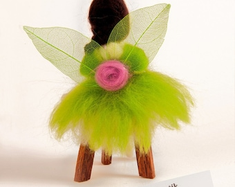 Felted Fairy - Wire doll - Green - OOAK