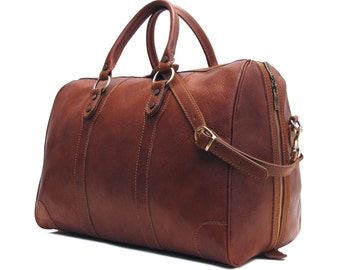 "Leather Duffle Bag 21"" / Floto 4573 Roma / Travel Bag / Leather Sports Bag / Cabin Travel Bag / Weekender  / Overnight Bag / Leather Bag"