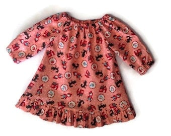BABY GIRL DRESS, size 0-3 months, long sleeve cotton peasant dress,  Moda fabric, Red Riding Hood, baby dresses
