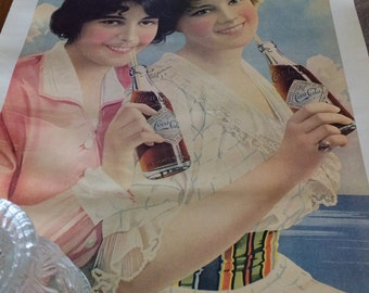 Vintage Coca Cola 1912 Two Flappers Print
