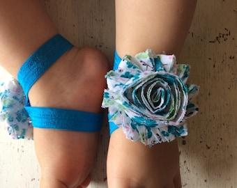 Barefoot sandals; baby barefoot sandals; blue floral sandal ; toddler barefoot sandal; sandal