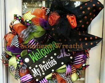 Halloween Witch Wreath~Welcome My Pretties Wreath~Halloween Door Wreath~ Front Door Wreath~ Halloween Decoration~Orange&Black Wreath