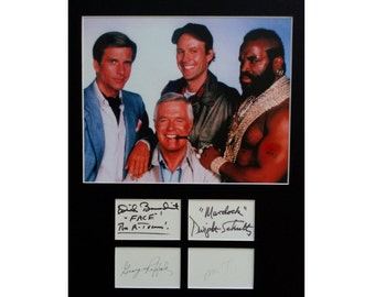 THE A-TEAM AUTOGRAPH photo display Mr T George Peppard Dwight Schultz Dirk Benedict