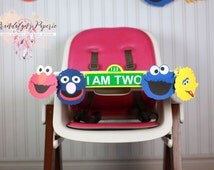 Sesame Street High chair Birthday Banner CHOOSE YOUR CHARACTERS I am 1 banner, I am one, Sesame street I am one Birthday banner