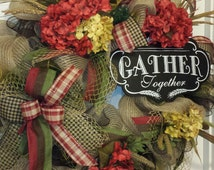 Gather Together Everyday Red and Tan Hydrangea Burlap Chicken Wire Wreath