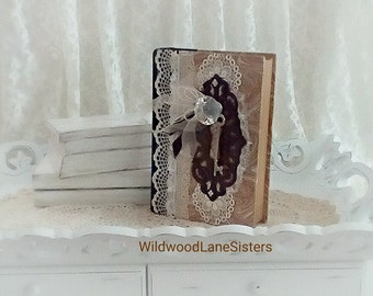 Decorative Shabby Chic Lace Altered Book/Bookend
