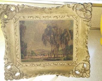 Trio of Vintage Landscape Prints in Ornate Frames
