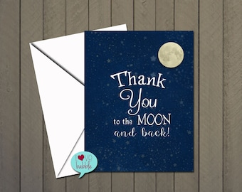 """Thank you note card, Moon, Twinkle Stars, Starry Night, Blue Baby  - PRINTABLE DIGITAL FILE 5.5""""x4"""""""