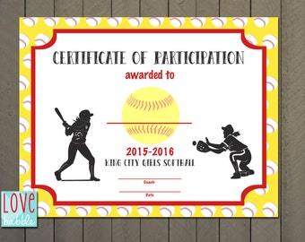 Softball certificate etsy girls softball baseball t ball award certificate printable digital file 85 pronofoot35fo Choice Image