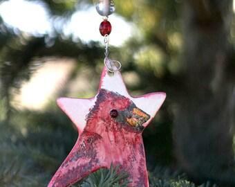 Cardinal Christmas Star Ornament