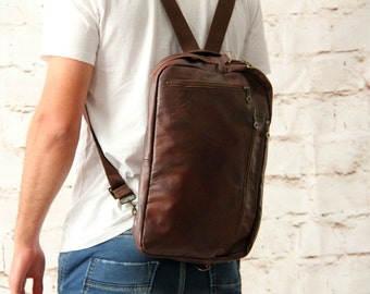 Brown Backpack, Men's Backpack, Laptop Backpack, Leather Backpack, Backpack for Men, College Bags, Everyday Bag, Convertible Bag, Brown Bag