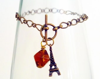 J'adore Paris Eiffel Tower toggle charm bracelet