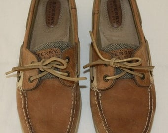 Sperry Top Sider Leather Boat Shoes With Rawhide Ties size 10