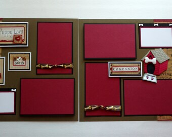 Dog themed, two page, 12 x 12 scrapbook layout. Free Shipping.