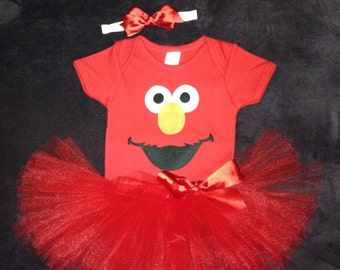 Baby Elmo Costume with body suit, tutu and hairbow