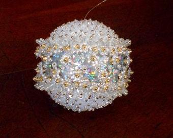 Winterflower Snowball Ornament. Christmas ornament.  Home decor. Desk accessories. Beaded ornament.  Sequin ornament. Hologram.