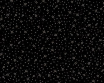 Stars on Black cotton fabric by Quilting Treasures