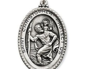 Sterling Silver Saint Christopher Antique Finish Large Pendant Charm JX6599