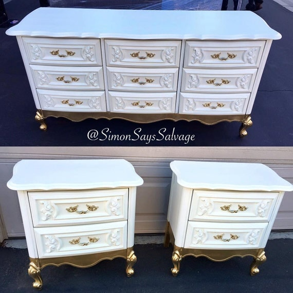Sample white and gold french provincial bedroom set - White and gold bedroom furniture set ...
