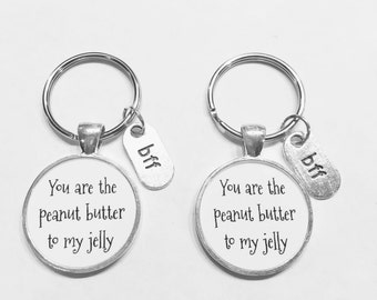 Best Friend You Are The Peanut Butter To My Jelly Best Friends BFF Gift Keychain Set