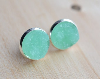 Mint Druzy Earrings - Aqua Druzy Earrings - Green Druzy Earrings - Druzy Post Earrings - Turquoise Druzy - Bridesmaids Gifts - Mint Earrings