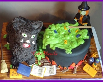 Fondant Witch Cake Topper Kit, Halloween Cake, Handmade Edible Books, Witches Cauldron, Halloween Cake, Witch Cake, Spell Books