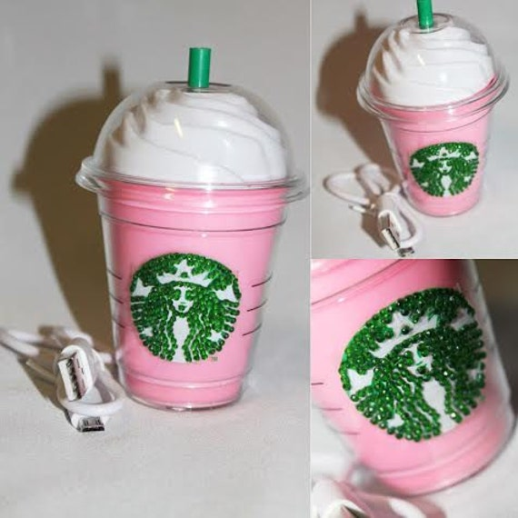 Pink Starbucks Frappuccino Crystal Portable Phone Charger