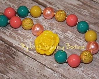 Ring Around the Rosie Chunky Necklace-M2M Caroline Kate-Coral Yellow Green-Chunky Necklace-Bubblegum Necklace-Baby-Toddler-Girls-Women