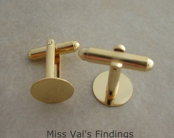 6 gold plated cuff link findings with 12mm pad