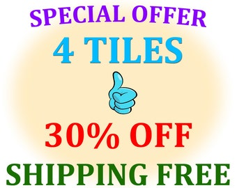 Special Offer - 4 tiles - size cm 10 x 10 - SAVE 30% - SHIPPING FREE !!!