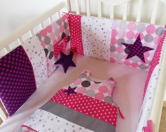 Round bed and sleeping bag 0-6 months plum, fuchsia, pink and grey, motif star