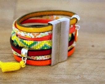 Liberty Brazilian Cuff Bracelet and leather yellow and green - Brazil - Bohemian snap cuff woven