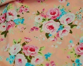 Floral Roses Fabric in Peach and Pink Shabby Cottage Style_Half Yard