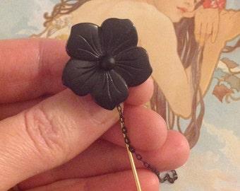 Antique Victorian Jet Mourning Flower Stick Pin