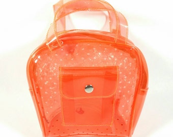 90s Clear PVC Purse Pouch Neon Orange Bag