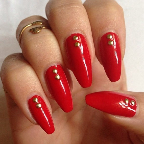 Christmas Acrylic Nails Coffin Shape: Red Nails Stiletto Nails Press On Nails Square Nails