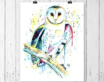 OWL 2 PRINT, owl print, owl watercolour, owl watercolor, barn owl print, barn owl painting, bird art, bird painting, bird watercolour