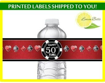 Casino Water Bottle Labels, Vegas Water Bottle Labels, Cards Water Bottle Labels, Casino Party Decoration, Poker night party LemonBells WC04