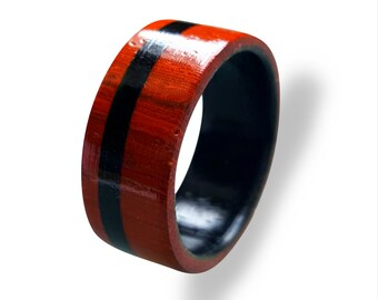 Wooden Ring for men made from Padouk, inlaid with Ebony wood