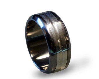 Titanium Ring Inlaid with Sterling Silver, Silver Ring, Silver Inlay, Sterling Silver Ring