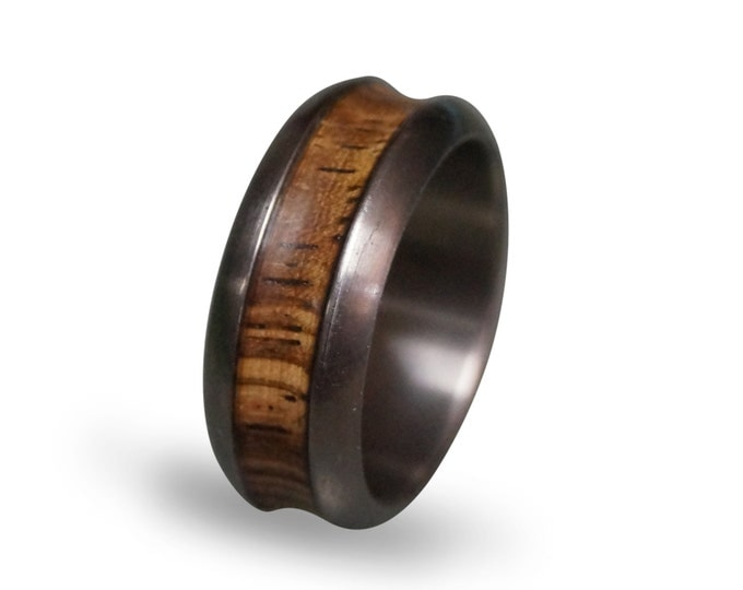 Titanium Wedding Band for Men, Titanium Ring with Zebrano Wood Inlay, Wooden Rings