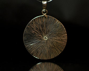 Hammered Sterling Silver Disc Pendant with Diamond