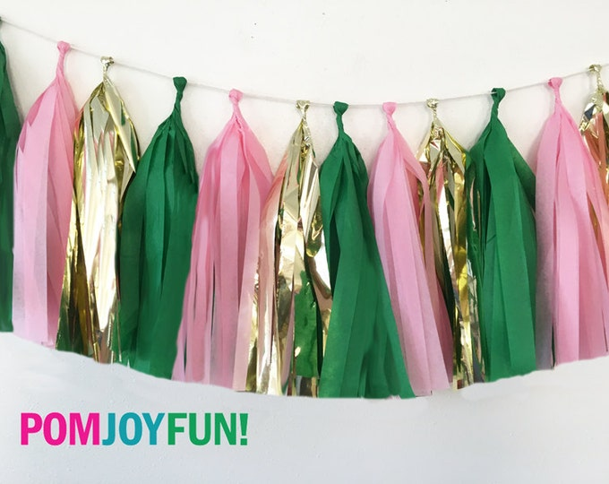 Flamingo tassel garland , Pink, metallic gold, and green tissue tassel garland , Tissue garland , Pink Flamingos
